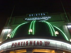 Portishead in lights at the brixton Academy