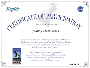 Johnny Mackintosh NASA Kepler certificate